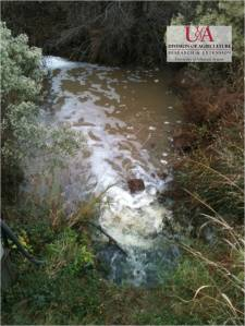 Outflow from a tailwater recovery ditch to reservoir